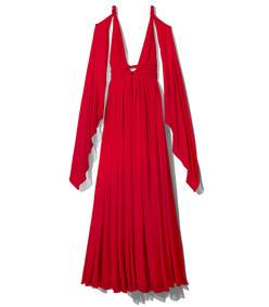 red chiffon grecian dress