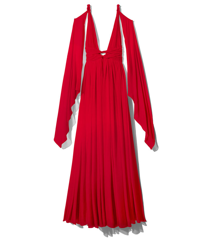 red chiffon grecian dress