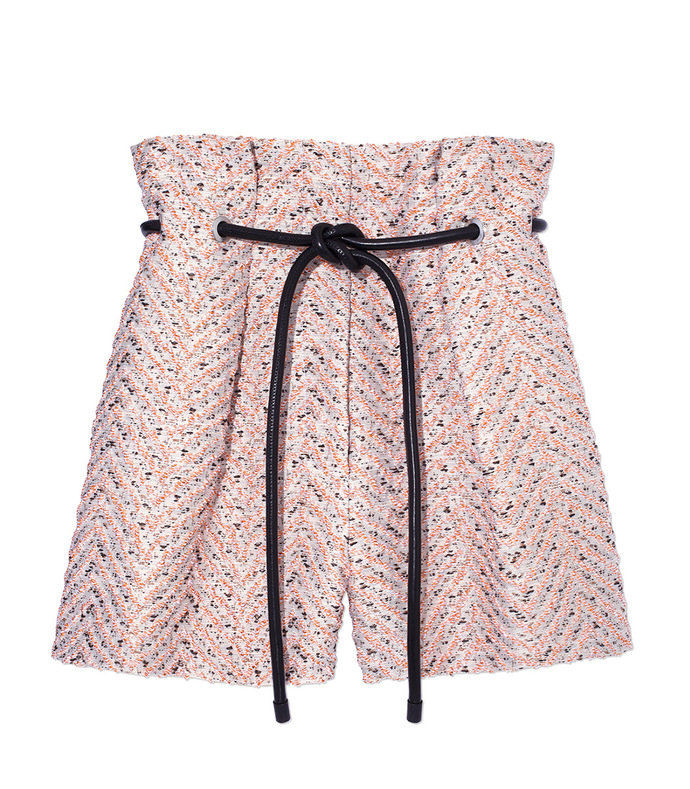 light pink tweed 'origami' shorts