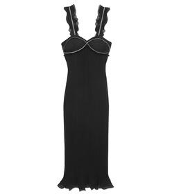 black pleated ruffle dress