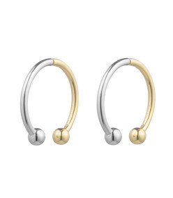 silver & gold hoop stud earrings