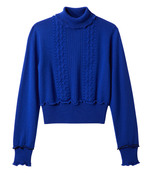 electric blue puffy cable turtleneck