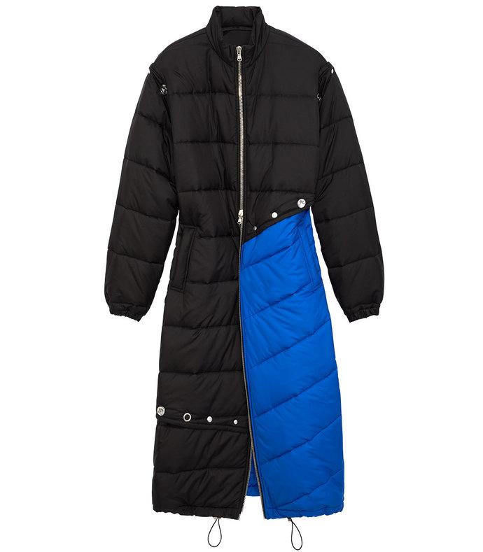 electric blue & black long puffer coat