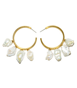 white gold pearl hoops