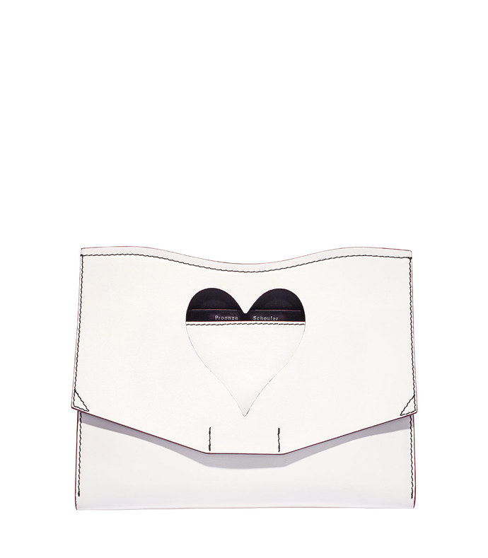 white heart cut-out clutch
