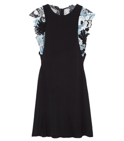 black silk guipure lace dress