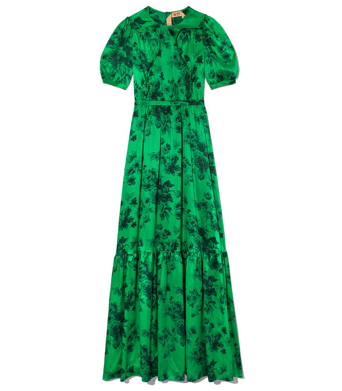 green printed gown