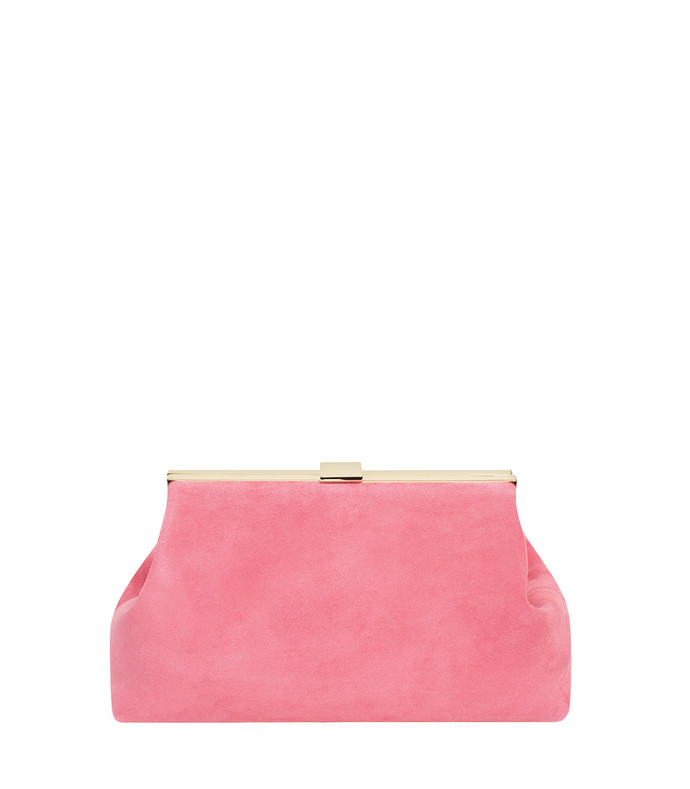 pink mini suede clutch