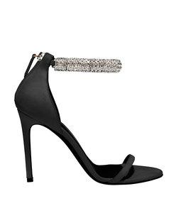 black suede crystal sandal