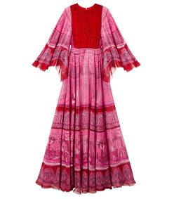 pink ruffled print dress