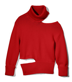 red cut-out turtleneck sweater