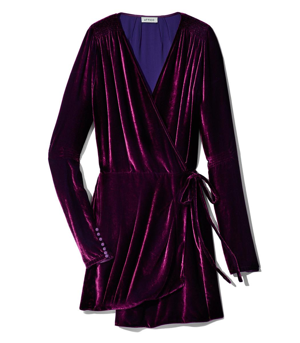 Attico Burgundy Velvet Mini Robe Dress Modesens