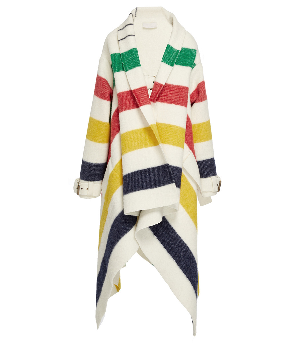 HUDSON'S BAY STRIPED WOOL-FELT BLANKET COAT