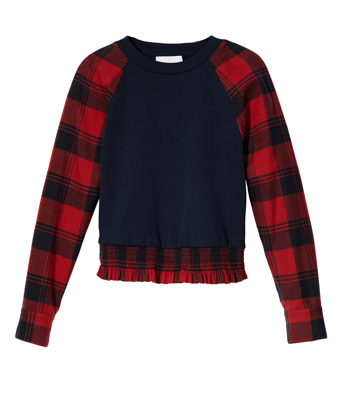 midnight french terry plaid knit