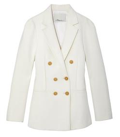white sculpted sleeve blazer
