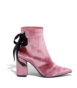 dusty pink velvet ankle bootie