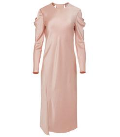blush celestia satin drape dress
