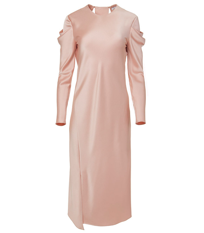 blush celestia satin drape dress