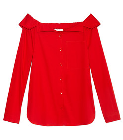 red poplin top