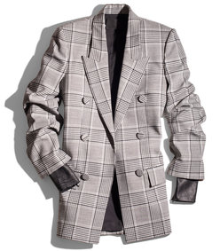 black & white plaid & leather blazer