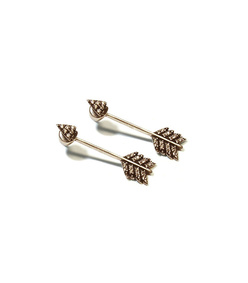 antique brass 'shooting arrow' earrings