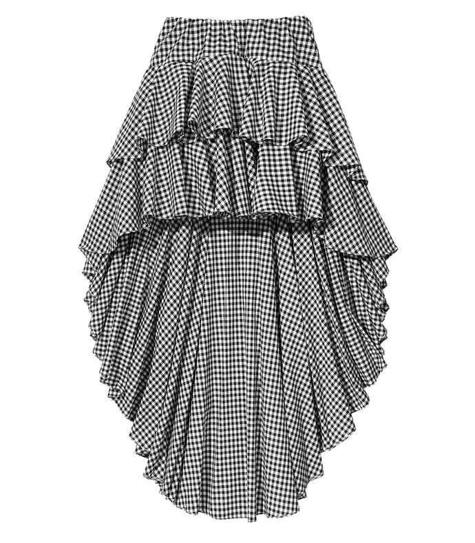 black gingham 'giulia' ruffle skirt