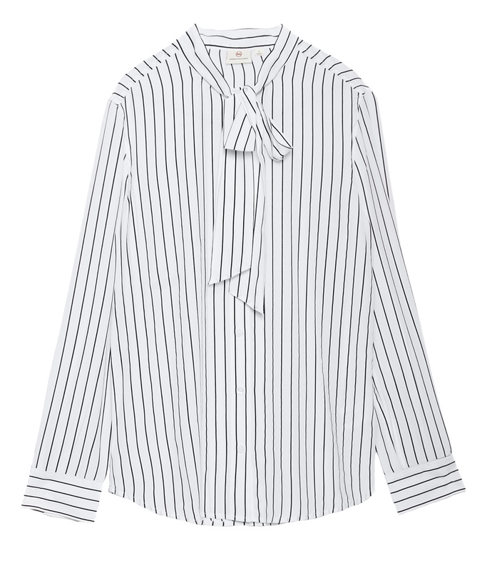 'the avery' black & white striped shirt