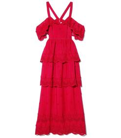 raspberry red off-shoulder dress