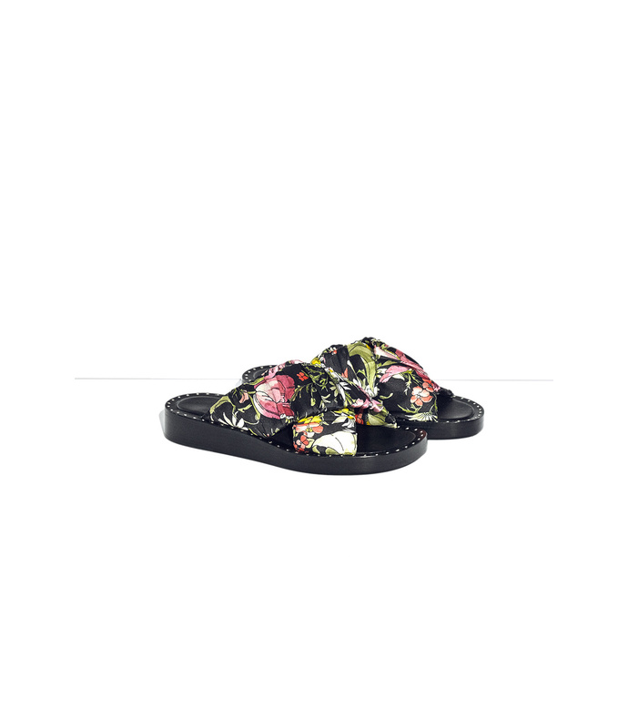 black multicolor nagano flat crisscross slide