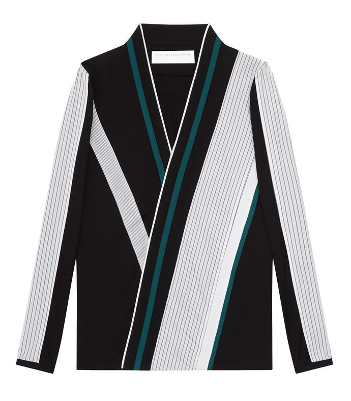 black striped asymmetric front shirt