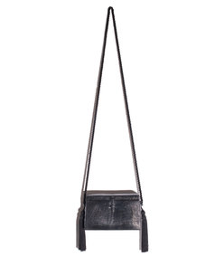 black lizard tassel bag