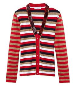 ShopBazaar Sonia Rykiel Red & Gold Metallic Stripe Cardigan MAIN