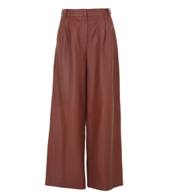 brown leather wide-leg pant
