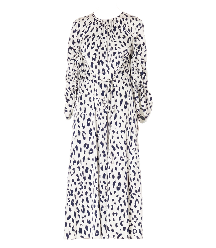 ivory & navy multi cheetah on hammered satin sculpted sleeve dress