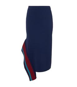 navy multi jacquard knit skirt
