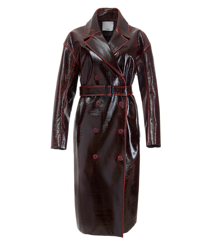 rouge patent coated wool oversized trench coat