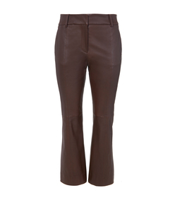 rich brown stretch leather pant