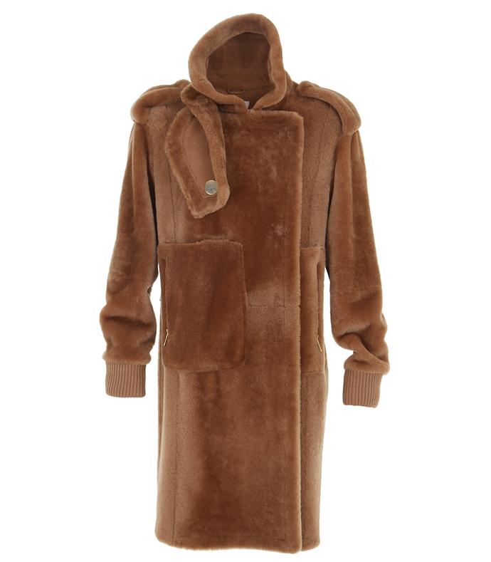 bear brown shearling coat
