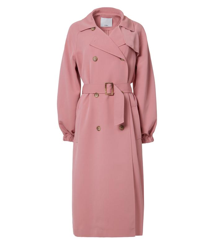 pitaya pink drape twill trench coat