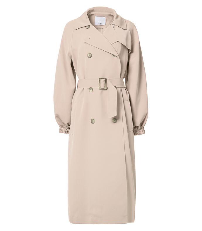 sand drape twill trench coat