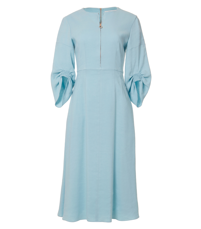 peacock blue 'marta' linen dress