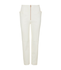 ivory zip-front trouser