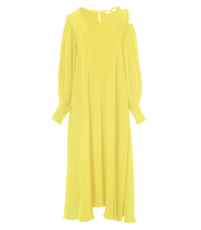 yellow 'edwardian' open shoulder dress