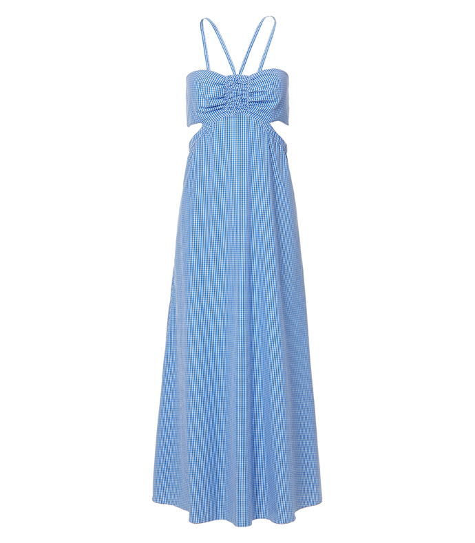 blue multi gingham ruched halter dress