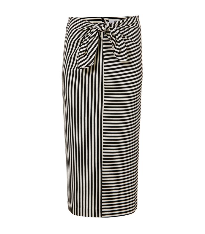 black & ivory 'ren' stripe skirt
