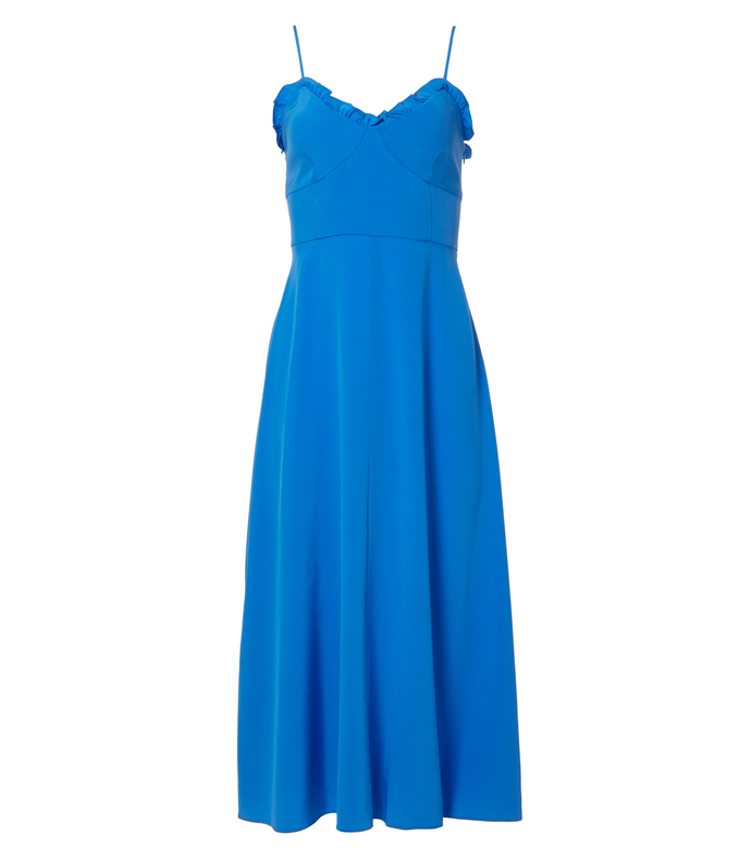 acadia blue silk ruffle dress