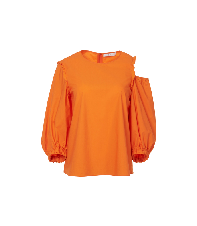 satsuma orange open shoulder top
