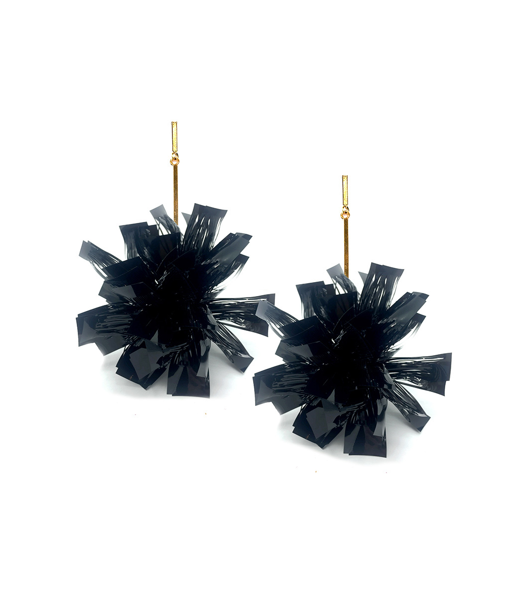 "Tuleste  4"" BLACK LUREX POM POM EARRINGS"