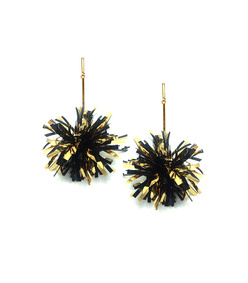 4 black and gold lurex pom pom earrings