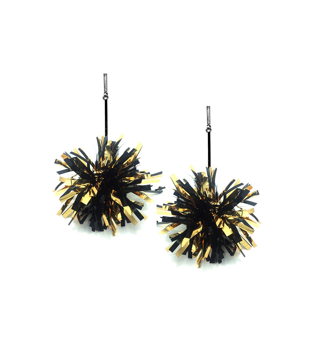 """TULESTE 4"""" Black And Gold Lurex Pom Pom Earrings in Black/Gold"""